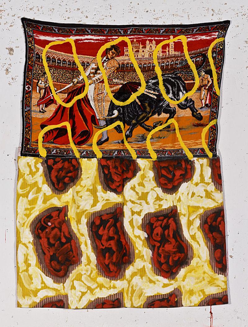claude viallat sans titre 1991 acrylique sur collage de tissu 176 134 cm en revenant de. Black Bedroom Furniture Sets. Home Design Ideas