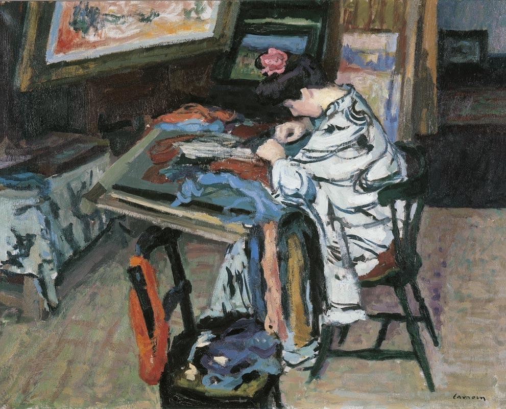 Charles camoin madame matisse faisant de la tapisserie for Peindre de la tapisserie
