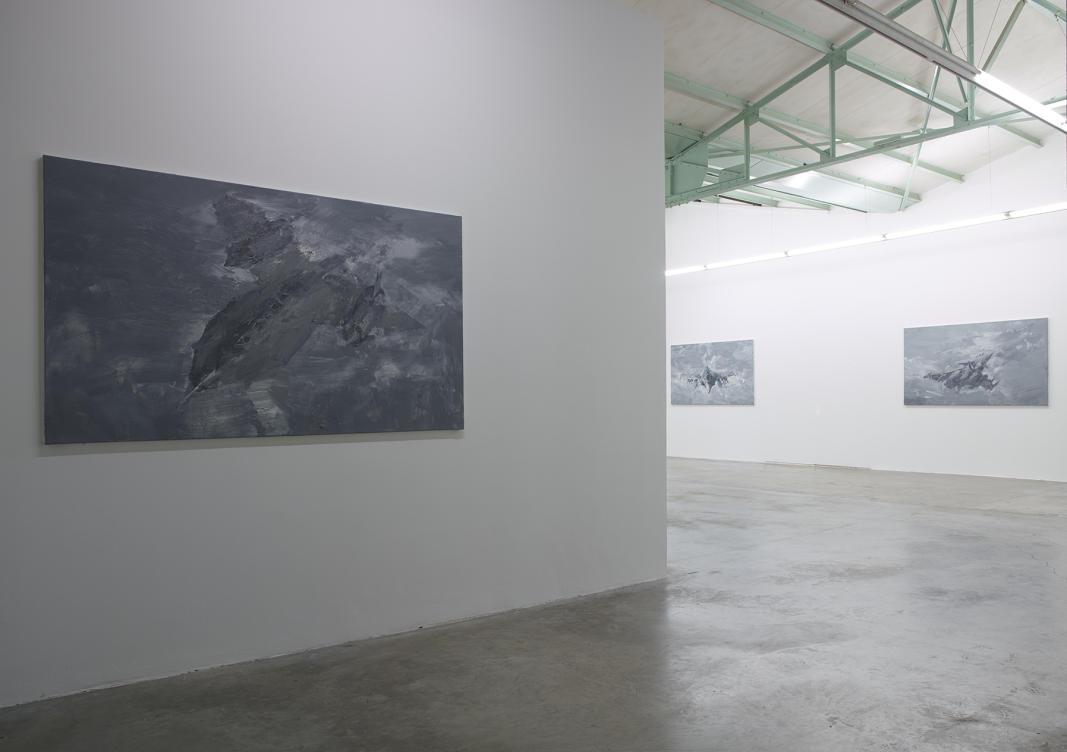 """Exposition """"Ruines du temps réel"""" - Yan Pei-Ming, L'autre oiseau X, 2013 - au fond : (série Autres oiseaux), 2013 - huiles sur toile. Photographe Marc Domage © Yan Pei-Ming"""