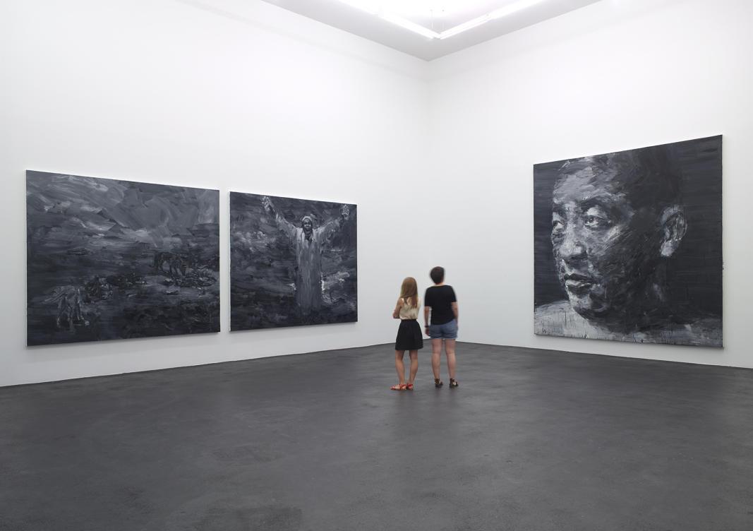 Exposition Ruines du temps réel - Yan Pei Ming, No Comment, 2013 dyptique - Autoportrait, 2005 - Huiles sur toile. Photographe Marc Domage © Yan Pei-Ming