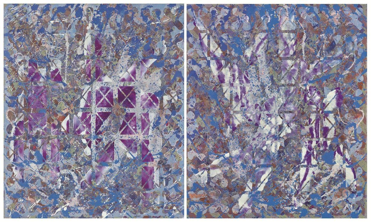 François Rouan, Trotteuses X, 2011-2013, peinture à l'huile sur toiles tressées, 175 x 292 cm, Atelier de l'artiste, © photo Laurent Lecat, ADAGP, Paris, 2017