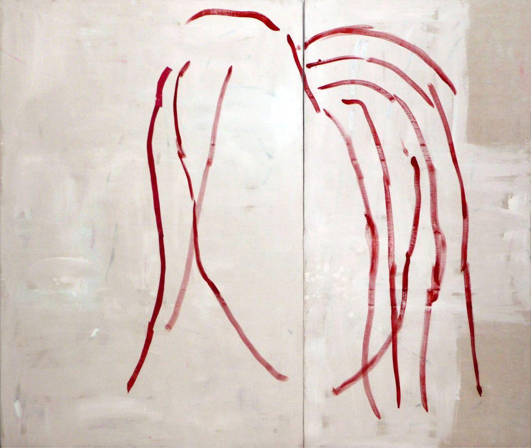Marie-Claude Bugeaud, L'origine. 2005. 195x227 cm. Acrylique huile et papiers collés sur toile. Diptyque 195x130 cm et 195x97cm.