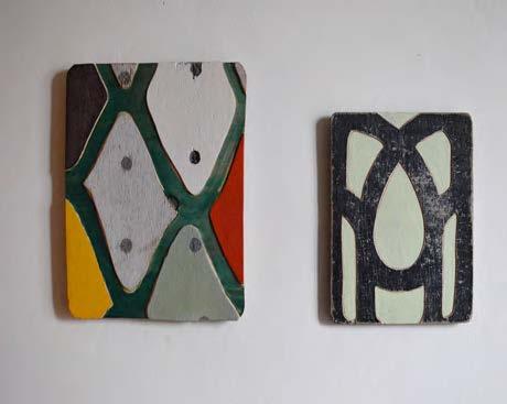 Nathalie Da Silva. Sans titre, 30 x 25 cm et 25 x 20 cm, peinture sur bois affleuré, 2016